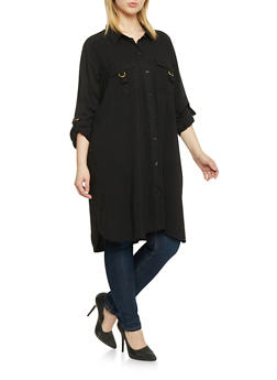 Plus Size Button Up Shirt Dress - BLACK - 1390051063062