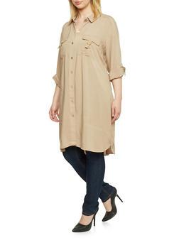 Plus Size Button Up Shirt Dress - 1390051063062