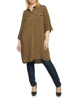 Plus Size Button Up Shirt Dress - 1390051063062