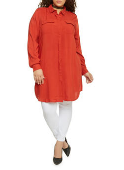 Plus Size Long Sleeve Button Up Maxi Top - 1390051063063