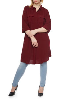 Plus Size Long Sleeve Button Up Maxi Top - BURGUNDY - 1390051063063