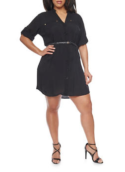 Plus Size Mandarin Collar Shirt Dress with Belt - BLACK - 1390051063064