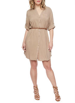 Plus Size Mandarin Collar Shirt Dress with Belt - 1390051063064