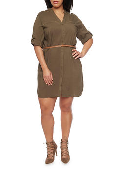 Plus Size Mandarin Collar Shirt Dress with Belt - OLIVE - 1390051063064