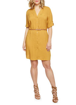 Plus Size Mandarin Collar Shirt Dress with Belt - MUSTARD - 1390051063064
