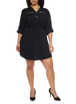Plus Size Shirt Dress with Tie Waist - BLACK - 1390051063065