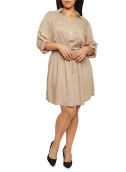 Plus Size Shirt Dress with Tie Waist - 1390051063065