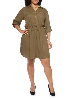 Plus Size Shirt Dress with Tie Waist - OLIVE - 1390051063065