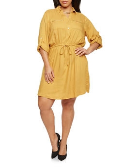 Plus Size Shirt Dress with Tie Waist - MUSTARD - 1390051063065