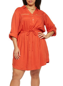 Plus Size Shirt Dress with Tie Waist - 1390051063065