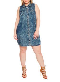 Plus Size Sleeveless Button Front Denim Shirt Dress - DARK WASH - 1390051063066