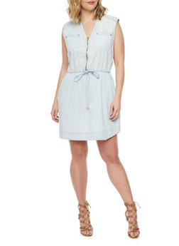 Plus Size Chambray Zip Front Dress - 1390051063070