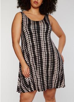 Plus Size Sleeveless Tie Dye Tank Dress - 1390051063076