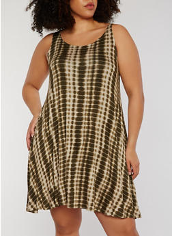 Plus Size Sleeveless Tie Dye Tank Dress - 1390051063076
