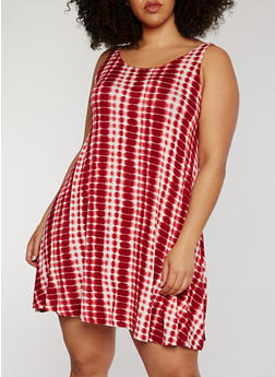 Plus Size Sleeveless Tie Dye Tank Dress - BURGUNDY - 1390051063076