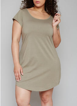 Plus Size Solid Dress with Caged Back - OLIVE - 1390051063078
