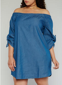 Plus Size Off the Shoulder Chambray Dress - 1390051063092