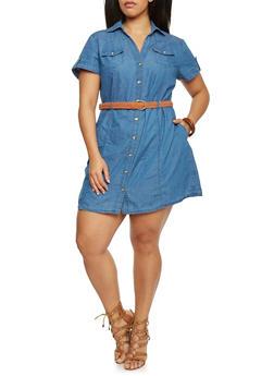 Plus Size Belted Button Down Denim Dress - 1390051063108