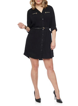 Plus Size Button Front Belted Shirt Dress - BLACK - 1390051063109