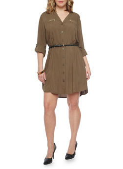 Plus Size Button Front Belted Shirt Dress - 1390051063109