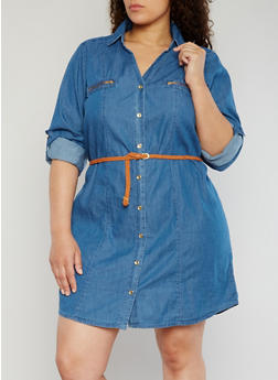 Plus Size Denim Button Front Shirt Dress - 1390051063110