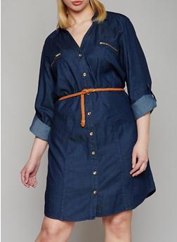 Plus Size Denim Button Front Shirt Dress - DARK WASH - 1390051063110
