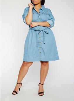 Plus Size Belted Denim Button Front Shirt Dress - 1390051063126