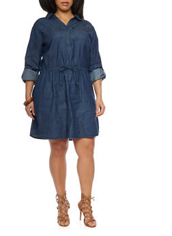 Plus Size Chambray Henley Dress with Tab Sleeves - 1390051063135