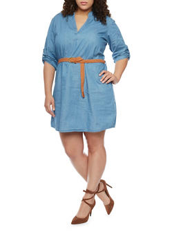 Plus Size Roll-Up Sleeve Denim Dress with Belt - 1390051063136