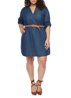 Plus Size Roll-Up Sleeve Denim Dress with Belt - DARK WASH - 1390051063136