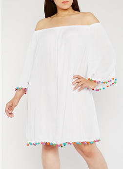 Plus Size Off the Shoulder Dress with Pom Pom Trim - 1390051063170