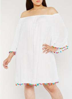 Plus Size Off the Shoulder Dress with Pom Pom Trim - WHITE - 1390051063170