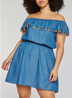 Plus Size Off the Shoulder Denim Dress with Pom Pom Trim - 1390051063172