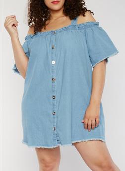 Plus Size Cold Shoulder Denim Shirt Dress - 1390051063173