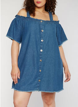 Plus Size Cold Shoulder Denim Shirt Dress - 1390051063173