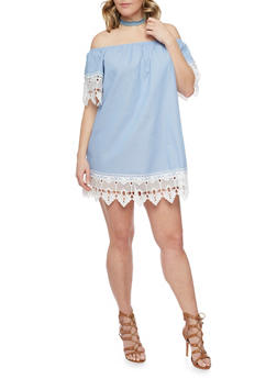 Plus Size Denim Peasant Dress with Crochet Trim - 1390051063200
