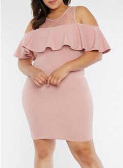 Plus Size Lace Yoke Cold Shoulder Dress - MAUVE - 1390051063237