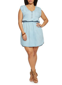 Plus Size Sleeveless Zip Front Chambray Dress - 1390051063287