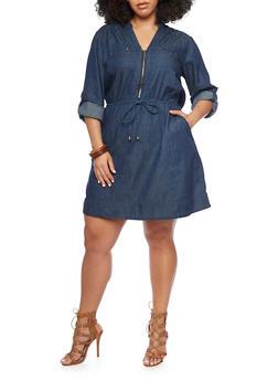 Plus Size Mandarin Collar Chambray Dress - DARK WASH - 1390051063290