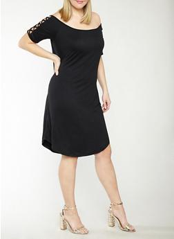 Plus Size Caged Shoulder Dress - BLACK - 1390051063456