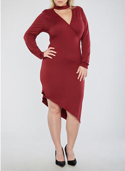 Plus Size Asymmetrical Keyhole Neck Dress - 1390051063466