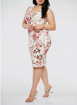 Plus Size Printed Tank Dress - 1390051063477