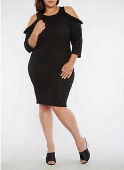 Plus Size Rib Knit Cold Shoulder Sweater Dress - 1390051063492
