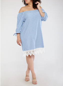 Plus Size Off the Shoulder Chambray Dress - 1390051063585