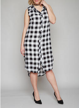 Plus Size Sleeveless Button Front Plaid High Low Shirt Dress - BLACK/WHITE - 1390051063722