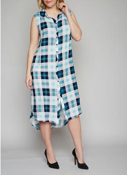 Plus Size Sleeveless Button Front Plaid High Low Shirt Dress - TEAL - 1390051063722