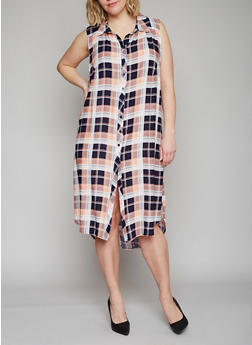 Plus Size Sleeveless Button Front Plaid High Low Shirt Dress - NAVY - 1390051063722
