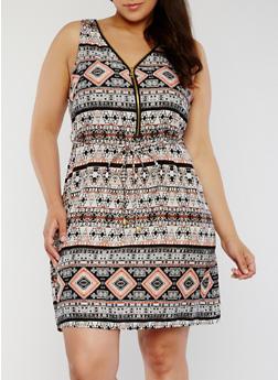 Printed Sleeveless Zip Front Dress with String Tie Belt - BLACK - 1390051063971