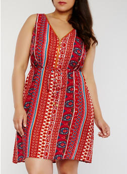 Printed Sleeveless Zip Front Dress with String Tie Belt - RUST - 1390051063971