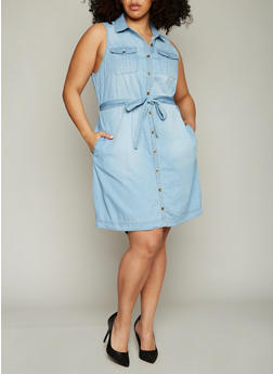 Plus Size Sleeveless Button Front Chambray Shirt Dress with Sash Belt - 1390051064069